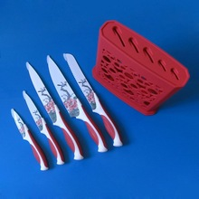5 pcs colorful knife set with hoder,red and white handle