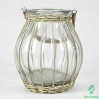 wicker covered glass pot decorative candle holder