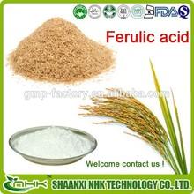 GMP factory hot sale high quality rice bran extract, natural ferulic acid, ferulic acid powder