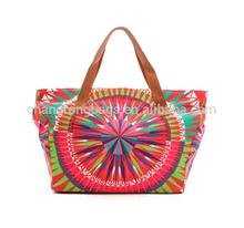 Digital printed canvas shopping bag, custom printed canvas tote bags, canvas tote bag leather handle
