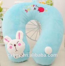 2015 Customized U shape neck animal toy shape children plush rabbit pillow