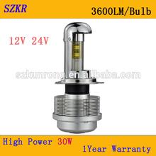 H4 Led headlight Hi/Lo beam ip68 30w 3600lm High Quality Type 2015Year-NEWEST LED Headlight