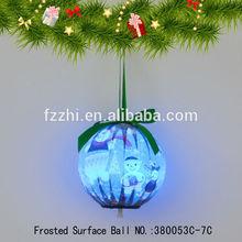 Lovely Blue Snowman Polyfoam Christmas Tree Decoration Hanging Ball Flash LED Light Ball