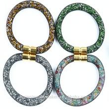 Hot Sale Mesh Stardust Bracelet, Nylon Mesh With Resin Crystal Magnetic Clasp Bracelet XBB-158-161 Jewelry Bracelets