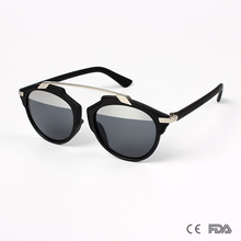 New Round Fashionable Women Custom Mirrored Sunglasses With Metal Bar