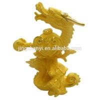 home decorative brass plated 24 k gold dragon animal figurine