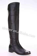 China manufacture trendy unique designer fashion over knee leather boots