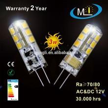 hotest model AC/DC12V 3W LED silicone G4 bulb, light lamp SMD 24L2835
