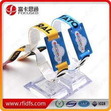 Factory low cost Fabric woven Passive 13.56Mhz RFID wristband
