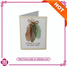 Feather button handmade thanksgiving greeting card design