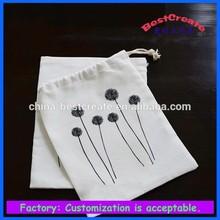 2015 China Simple Cheap 1C Printing Customized Organic Cotton Drawstring Bag With Logo