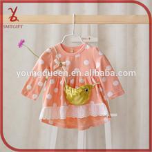 YY22 2015 spring new knit dress baby girl stitching large dot dress