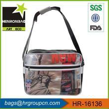 promotional cheap city photo print pvc messenger bag for boys