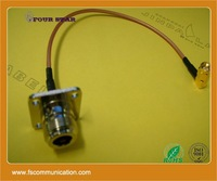 RG316 cable jumper with N female flange and SMA male right angle on both ends