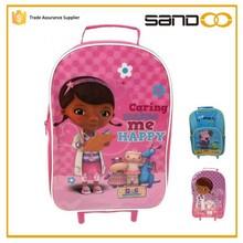 Cartoon children wheeled school backpack, 2015 kids school trolley backpack