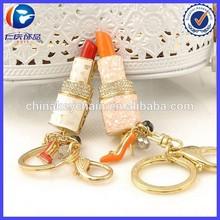2015 newest style rhinestone keychain,custom keyring,lipstick keychain