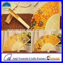 Asian Silk Hand Fan Wedding Program Fan With Bamboo Handle