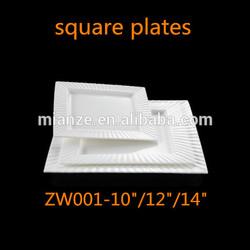 "china bone china wholesale white plates 10""/12""/14 inch ceramic square shape dinner plates"