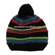 Fashion acrylic winter warm jacquard crochetted beanie hat with pom pom and polar fleece band