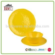 High quality luxury golden yellow melamine dinnerware flatware set