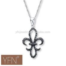 Promotional Black CZ Stone Pendant Necklace,Sterling Silver Necklace