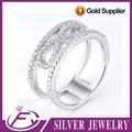 micro spianare impostazione elegante design 925 silver anello di nozze