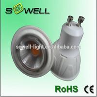 GU10 COB 3w/5w/7w LED spot bulb lighting, 170-265V 50*H55mm Aluminum+plastic COB LED spot lamps