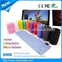 Waterproof 109Keys Multi-color Flexible silicone mechanical keyboard for laptop