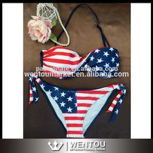 nuevo 2015 arivval caliente sexy bikini bandera americana