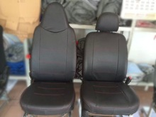 PVC Material Car Seat Covers Red Stitching Line Customized Design Available