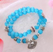 2015 Blue Lucky Cat Eyes Double Wrap Bead Bracelet Bangle