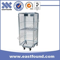 Wire Rolling Storage Trolley Transport Metal Laundry Cart With Wheels