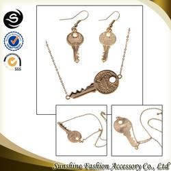 2015 SUNSHINE pendant necklace set design key pendant necklace latest fashion jewelry set