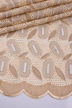 High quality cotton material eyelash lace fabric with stones