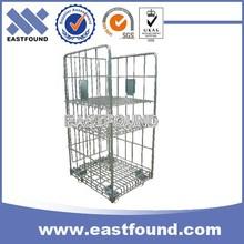 Four Wheels Storage Metal Transport Roller Wire Basket Trolley