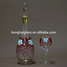 decorative wine bottles Handmade Gold Painted Glass Wine Set