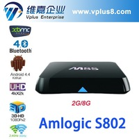 Amlogic S802 Quad Core Android 4.4 Full XBMC 4K2K 2.4GHz/5.0GHz dual band Wifi VM8 amlogic m8 quad core 4k android tv box