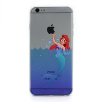 Mermaids and cute dolphin design slim soft transparent TPU case for iphone 6 case for iphone 6 plus