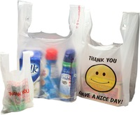 Custom Printed Economical T Shirt Plastic Grocery Bag Wholesale