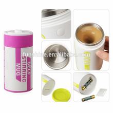2015 Hot New Products Battery Shaped Novelty Self Stirring Coffee Mug