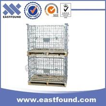 Galvanized Metal Wire Storage Steel Collapsible Wooden Basket