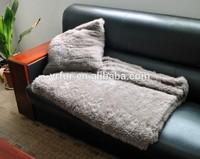 YR-596 1*1 knit 200* 150cm soft and warm knit real rabbit fur blanket