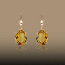 New Fashion Women&Girl's Gold Plated Champagne Zircon Dangle Earring Jewelry