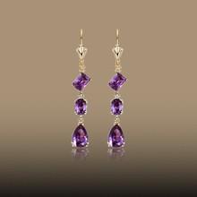 Luxury Big Waterdrop Purple Zircon Gold Plated Earrings For Wedding Party