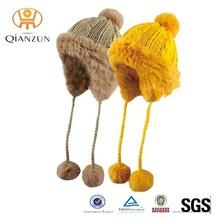 Fashion Winter Knit Rabbit Fur Beanie Hat Ear Ski Hat
