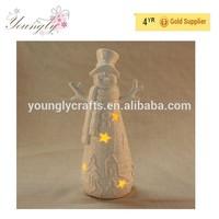 LED Christmas snowman lantern for Christmas ornament 2015 New product porcelain