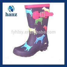 new style purple cute dog printed kids half wellington boots