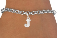 Yiwu market fast shipping silver plating zinc alloy initial letter bracelet with J letter