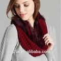 superior calidad de la moda de invierno de color rojo y negro genuino de piel de conejo bufanda de punto