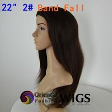 Fashion headband human hair wigs 22 inch 2# big layer Jewish band fall wig dark brown virin hair 3/4 Kosher wig